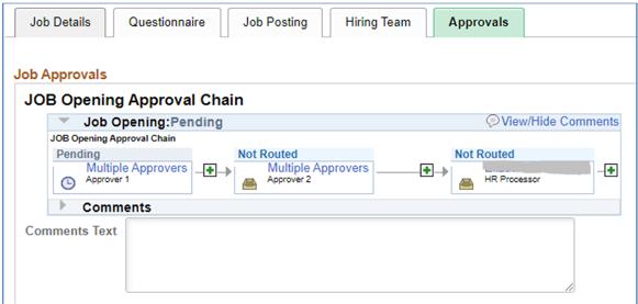 OneUSG Careers screen shot of approval screen