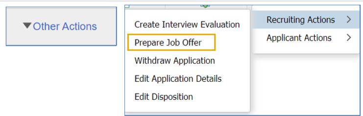 OneUSG prepare job offer screen shot
