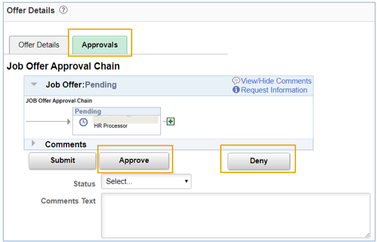 job offer approval screen in OneUSG